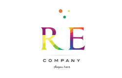re r e creative rainbow colors alphabet letter logo icon royalty free illustration