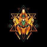 Re sacro Golden Robot della geometria royalty illustrazione gratis