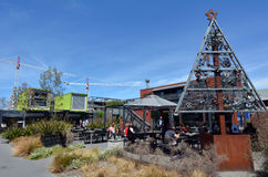 Re:START. mall in Christchurch - New Zealand. CHRISTCHURCH - DEC 04 2015:Re:START. It's a popular temporary mall built from shipping containers created in Royalty Free Stock Photography