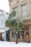 Re Street, Charleston, Sc Una bufera di neve di 2018 Fotografie Stock Libere da Diritti