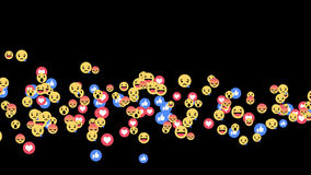 Reações vivas de Facebook - misturadas do emoji das reações em fluir a vídeo em direto no canal alfa ilustração do vetor