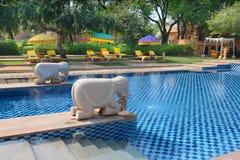 Área de piscina de Oberoi Rajvilas Imagen de archivo libre de regalías