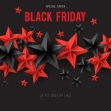 Rea e estrelas pretas com texto Black Friday ilustração stock