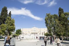 ?rea grega do parlamento, o 17 de maio 2014 Atenas, Gr?cia fotografia de stock
