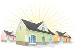 Área residencial, casas. Vetor Imagens de Stock Royalty Free