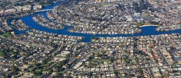 Área residencial de la visión aérea Fotos de archivo