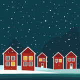 Rea And White Wooden Scandinavian Houses. Night Theme. Rea And White Wooden Scandinavian Houses With Snowflakes. Night Theme Royalty Free Stock Photography
