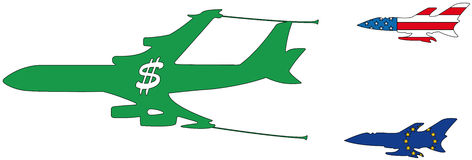 Reabastecimento de bordo do avião Imagem de Stock