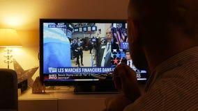 Reacción del mercado de finanzas internacionales en la elección del presidente del triunfo almacen de video