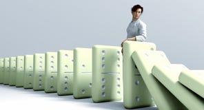 Reacción en cadena de los dominós Imágenes de archivo libres de regalías
