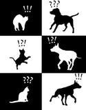 Reacciones de los animales domésticos del gato y del perro de la ilustración del vector ilustración del vector