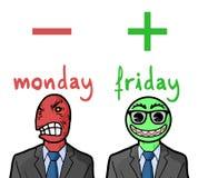 Reacciones de lunes y de viernes Imagenes de archivo