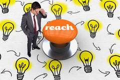 Reach against orange push button Stock Photography