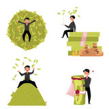 Reach businessman, marrying to money, lying, sitting on it, throwing Royalty Free Stock Photos