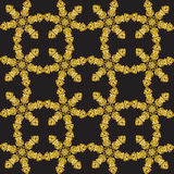 Reach christmas seamless background with hand-drawn realistic snowflake, golden color on black. Royalty Free Stock Photos