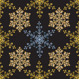 Reach christmas seamless background with hand-drawn realistic snowflake, golden color on black. Stock Images