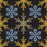 Reach christmas seamless background with hand-drawn realistic snowflake, golden color on black. Royalty Free Stock Photography
