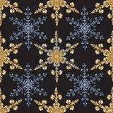 Reach christmas seamless background with hand-drawn realistic snowflake, golden color on black. Stock Photography