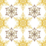 Reach christmas seamless background with hand-drawn realistic snowflake, golden color on white. Stock Photography