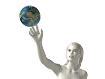 Reach-the-earth. White abstract women reaching the earth with her right hand white background Royalty Free Stock Photography