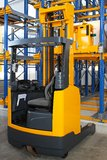 Reach forklift truck. In modern distribution warehouse royalty free stock photos