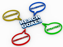 Reach goals. Reach your goals through the tools of teamwork strategy leadership and communication, right amount of each can make the difference between success vector illustration