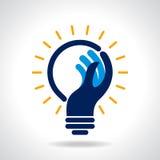 Reach idea with human hand Royalty Free Stock Photos