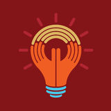 Reach idea, a human think with hand Royalty Free Stock Photography