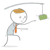Reach money. Doodle stick figure: Businessman in zombie face trying to reach money Royalty Free Stock Photography