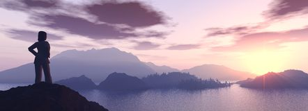 Reach the paradise!. 3d render of a girl looking at a beautiful sunset from the top of a mountain stock photography