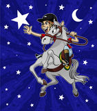 Reach for the star. Cartoon-style illustration: a young happy girl riding her horse is trying to reach a big star in the sky Royalty Free Stock Photos