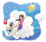 Reach the star. A dreamlike picture of mommy and son journey to outer space Stock Photography