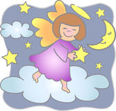 Reach for Stars Angel. Illustration of a little girl angel collecting stars eps file available Stock Photography