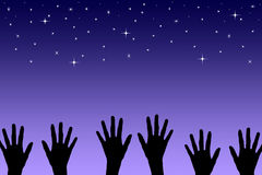 Reach for the stars. Being hopeful and ambitious and reaching for the star Stock Photos