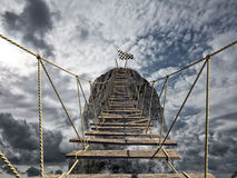 Reach the success with difficult. Achievement business goal and Difficult career concept Stock Images