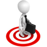 Reach target. Business man reached his target, white little man on red target circle Royalty Free Stock Image
