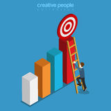 Reach target goal on top of bar graphic flat isometric vector 3d Stock Photos