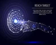 Reach target vector geometric polygonal art background. Vector polygonal art style human hand touching glowing point at target circle. Low poly wireframe mesh stock illustration