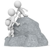 Reach for the Top. The dude 3D character x3 climbing a Rock Mountain stock illustration