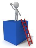 Reach top. Reaching top concept, little man standing on high building with ladder white background royalty free illustration