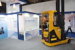 Reach Truck on India Warehousing & Logistics Show Stock Images