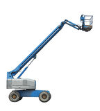 Reach truck platform isolated. Mobile reach truck cherry picker equipment, drivable from platform.  Isolated on white Royalty Free Stock Image