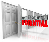 Reach Your Full Potential 3d Words Open Door Opportunity Royalty Free Stock Images