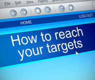 Reach your targets. 3d Illustration depicting a computer screen capture with a reaching targets concept Royalty Free Stock Photos