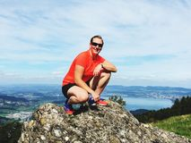 Reached the mountain top royalty free stock photography