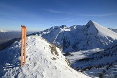 Reached the top by ski touring Royalty Free Stock Photo