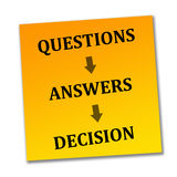 Reaching a decision. By asking the right questions and giving the right answers Stock Photos