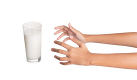 Reaching For A Glass Of Milk III Stock Image
