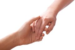 Reaching hands. Concept for rescue, friendship, guidance stock images