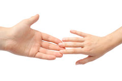 Reaching hands royalty free stock image